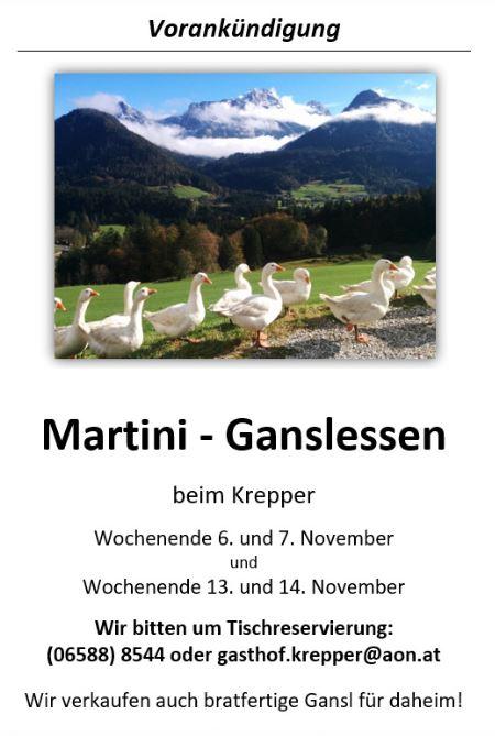 Martini Gansl Essen Bio Weidegans Krepper Lofer